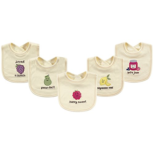 Touched by Nature Baby Organic Cotton Bibs, Berry Sweet 5Pk, One Size ()
