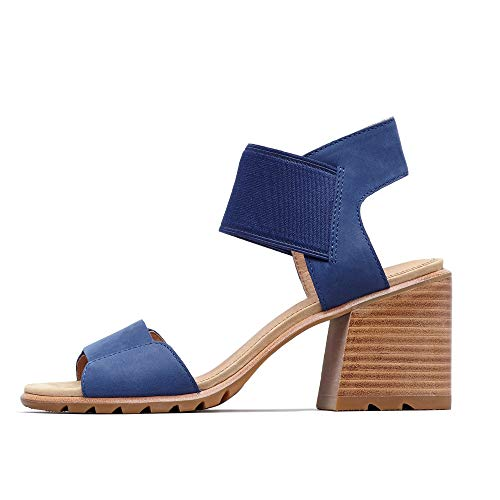 Sorel - Women's Nadia Sandals Open Toe Sandals with Ankle Strap and Heel, Nubuck, Blue Shadow, 5.5 M ()