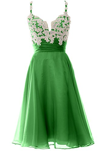 Green Cocktail Chiffon Dress Strap Prom Short Women MACloth Short Lace Gown Formal pq7P7C