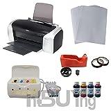 Intbuying Printer CISS System 4bottles Sublimation Ink A4 Paper Heat Tape Package for Mug Transfer
