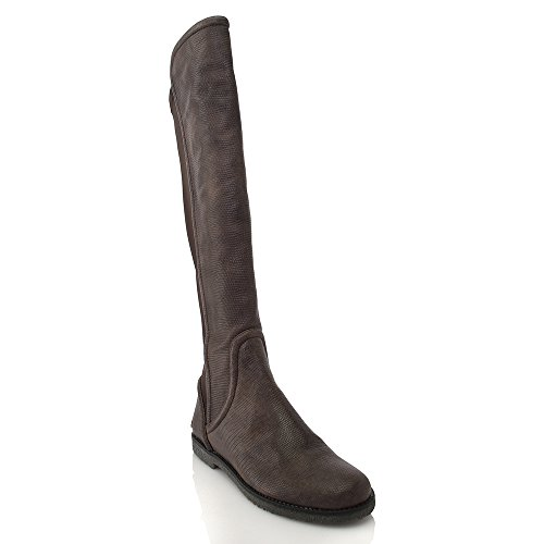 New! Baldan Dk Taupe Lizard Print Leather Pull On Boot W/...