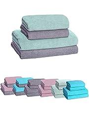 HOPS Handdoekenset, badhanddoek groot, badhanddoeken, handdoek sneldrogend, handdoekenset, handdoeken 50x100, badhanddoek/douchehanddoek 70x140, handdoek (grijs - mint, 2 badhanddoeken + 2 handdoeken)