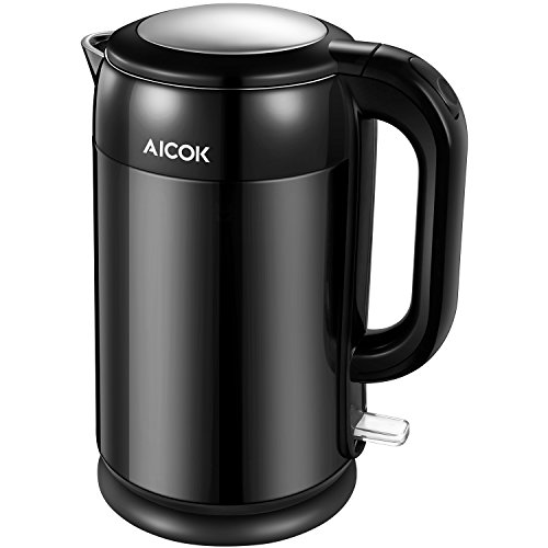 Electric Kettle Double Wall Cool Touch Tea Kettle, 1.7 Liter 1500W Fast Boiling, Cordless Stainless Steel Water Kettle with Auto Shut-Off & Boil Dry Protection, BPA Free by Aicok