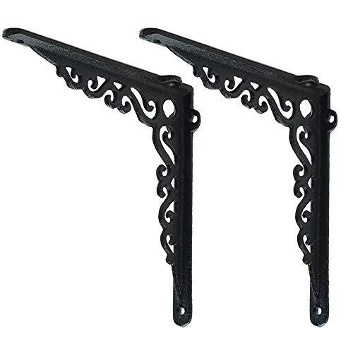 Sungmor Cast Iron Heavy Duty Shelf Brackets - Rustproof Sturdy 90° Right Angle Wall Hanging Supoort Board Hangers - 2PC Black & 18.5CM/7.3Inch - Elegant & Decorative Corner Brace Joint Angle Bracket