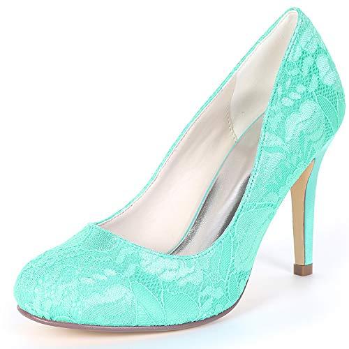 De Fy562 Zapatos yc Pie L Blue Mujer Seda Honor Boda Toe Chunky Dama Del Cerrado Redondo Dedo 9cm Bridal TBEdxw