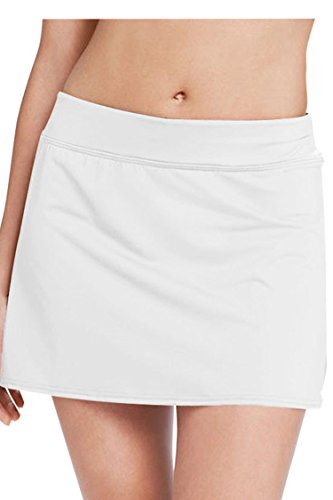 Viottis Women's Swim Skirt Bikini Bottom with Attached Brief White L