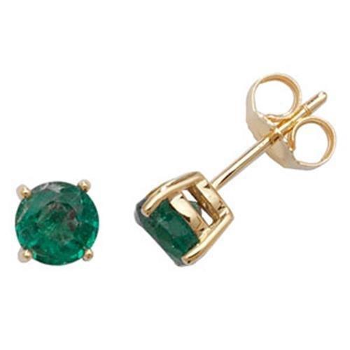 Boucles d oreille à tige avec émeraude rond en or jaune 9 carats 5 ... 17a9163038cc