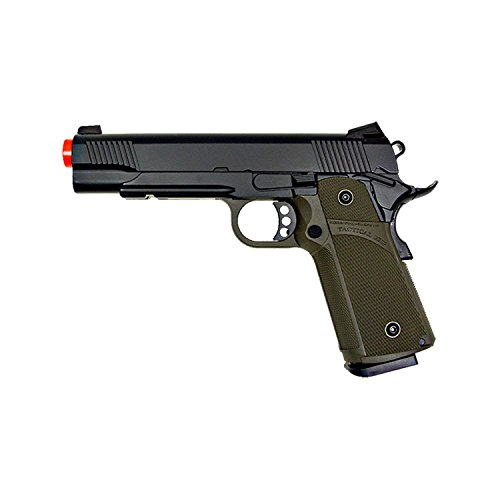 KJW KP-05 1911 Gas Full Metal Grip Pistol, Black/Olive Drab