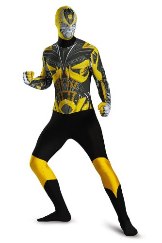Disguise Men's Hasbro Transformers Age Of Extinction Movie Bumblebee Bodysuit Costume, Yellow/Black, Medium/38-40 - Make Bumblebee Transformer Costume