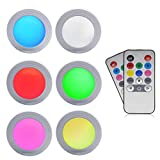 Under Cabinet LED Puck Lights - GreeSuit Color Lights LED Battery 2 Wireless Remote Control Brightness Adjustable Cupboard Light, Multi Color Accent Lights Battery Powered