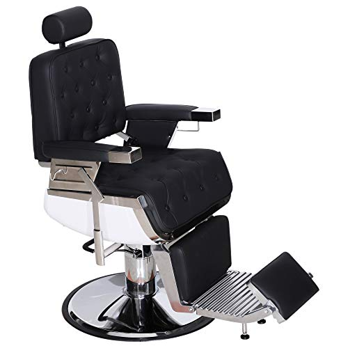 (BarberPub Barber Chair Heavy Duty Reclining Hydraulic Hair Styling Chair for Barber Shop, Hair Salon, Salon Furniture Shampoo Equipment 3833 (Black))
