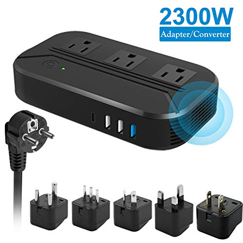 Voltage Converter 2300W Power Step Down 220V to 110V Universal Travel Adapter Power Converter Power Transformer w/ 3 AC Outlets 3 USB Ports 1 Type-C Charging EU/UK/AU/US/IT/South Africa Black