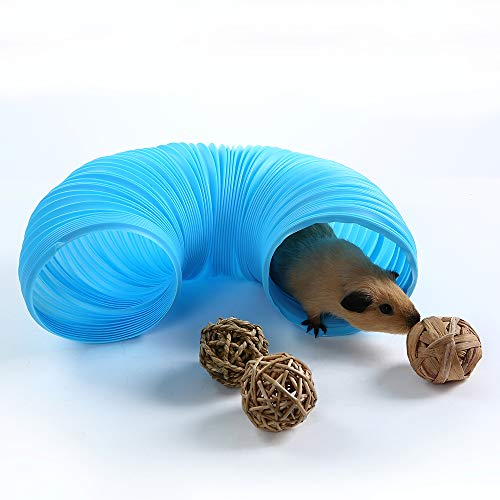 Image of Niteangel Fun Tunnel with 3 Pack Play Balls for Guinea Pigs, Chinchillas, Rats and Dwarf Rabbits (Blue)