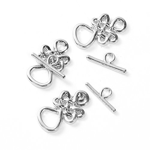 Knot Clasp - 6 Sets Celtic Infinity Knot Bracelet Toggle Clasps - Findings, DIY Crafts, Jewelry Making (Silver Tone)