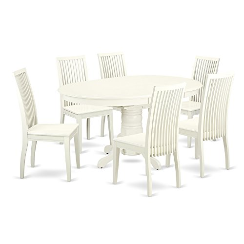 East West Furniture AVIP7-LWH-W 7 Piece Dining Set Table and 6 Wood Seat Kitchen Chairs, Medium, Linen White