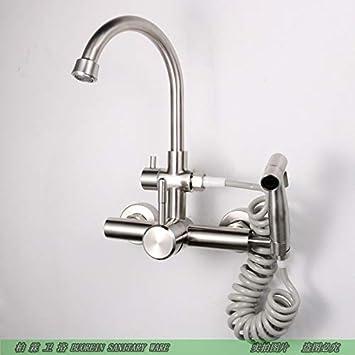 Grifo de cocina de estilo europeo con pistola pulverizador arrastre la piscina lavadora de agua fría en el muro