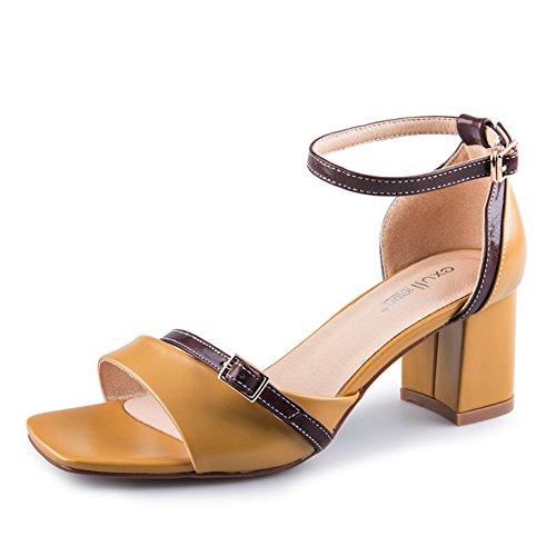 sandalias Alto moda Tacón Grueso De señora tacón B Verano xwSpgvv
