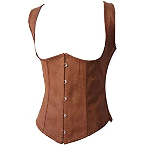 Alivila.Y Fashion Womens Faux Leather Underbust Steel Boned Corset Waist Cincher