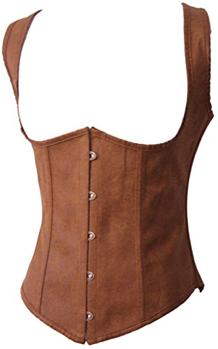 [Alivila.Y Fashion Womens Faux Leather Steampunk Underbust Steel Boned Corset 2672A-Brown-L] (Brown Leather Corset)