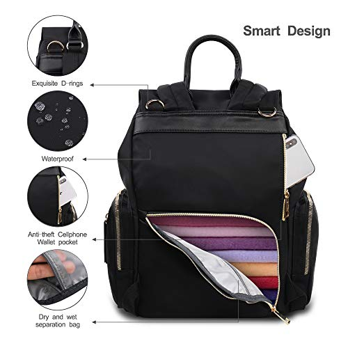 Hafmall Diaper Bag - Waterproof Multi-Function Travel Back Pack Stylish Baby Bag (Black)