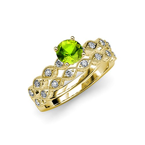 Peridot and Diamond Marquise Engagement Ring & Wedding Band Set 1.25 ct tw in 14K Yellow Gold.size (Gold Marquise Peridot Ring)