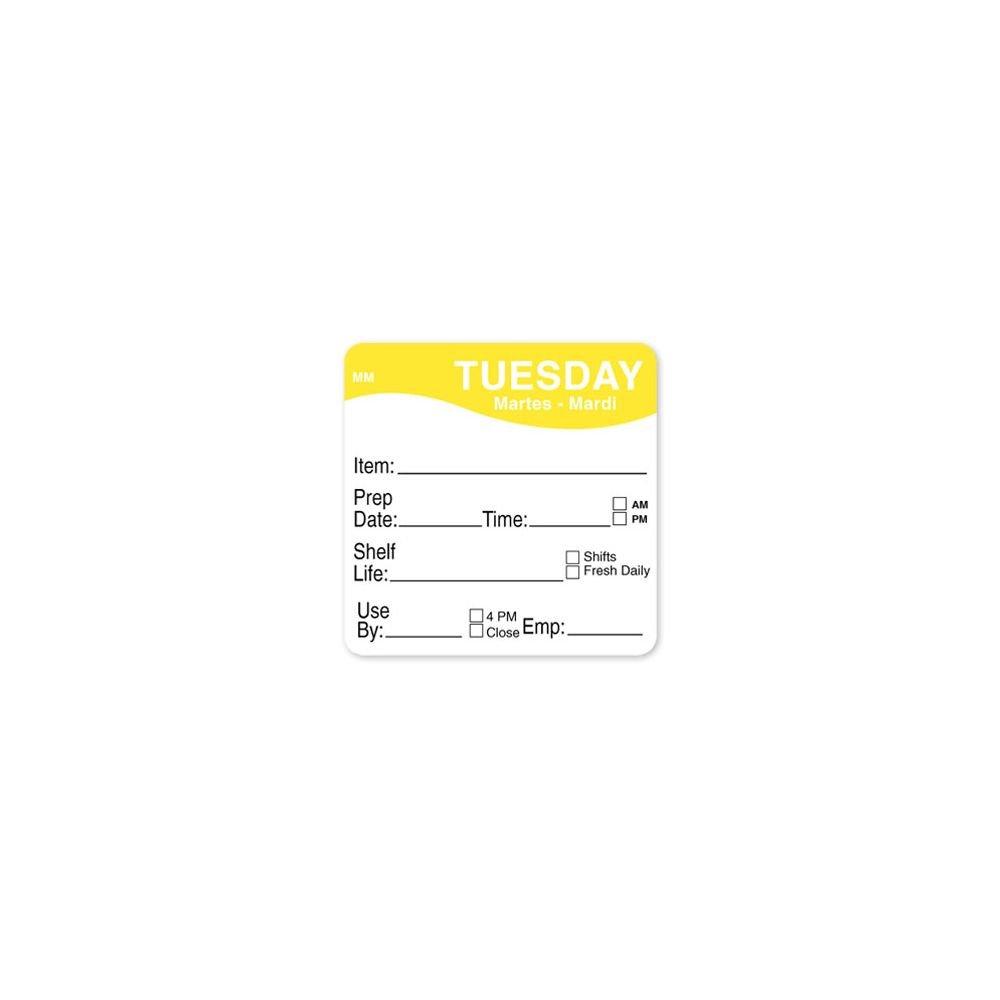 DayMark 1122122 MoveMark 2'' Tuesday Shelf Life Day Square - 500 / RL
