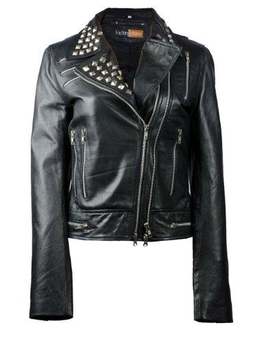FactoryExtreme Stunner Metallic Womens Black Biker Leathe...