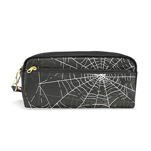 Leather Pencil Case Holder Halloween Spider Web Pen Pounch Womens Cosmetic Makeup -