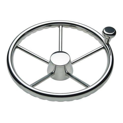 "SCHMITT & ONGARO MARINE 1731321FGK / Ongaro 170 13.5"" Stainless 5-Spoke Destroyer Wheel w/ Stainless Cap and FingerGrip Rim - Fits 3/4"" Tapered Shaft Helm"