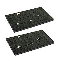 CuteBox 2 Piece 72 Slot Black Jewelry Travel Ring Inserts Display Pads Black Foam
