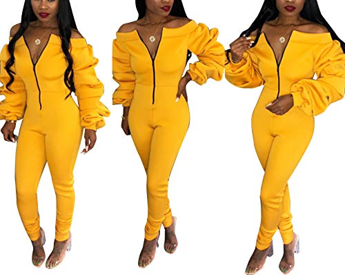Ophestin Women Zipper Rompers Sexy Off Shoulder Club Bodycon Skinny Rompers Jumpsuits Outfits Yellow ()