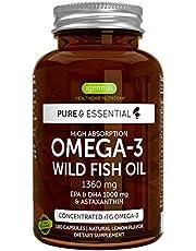 Pure & Essential Hoge Absorptie Omega-3 Wilde Visolie 1360 mg, EPA DHA 1000 mg & Astaxanthine 1 mg, citroensmaak, 180 capsules
