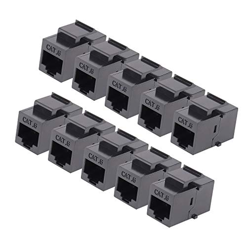 RJ45 Keystone Coupler - 10Pack iGreely Cat6 Cat5e Cat5 Compatible 8P8C Ethernet Network Jack Insert Snap in Adapter Connector Port Inline Coupler for Wall Plate Outlet Panel ()