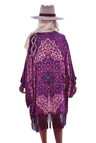 Womens Boho Chiffon Kimono Beach Swimsuit Cover Ups,Cardigan for Bikini (Purple)