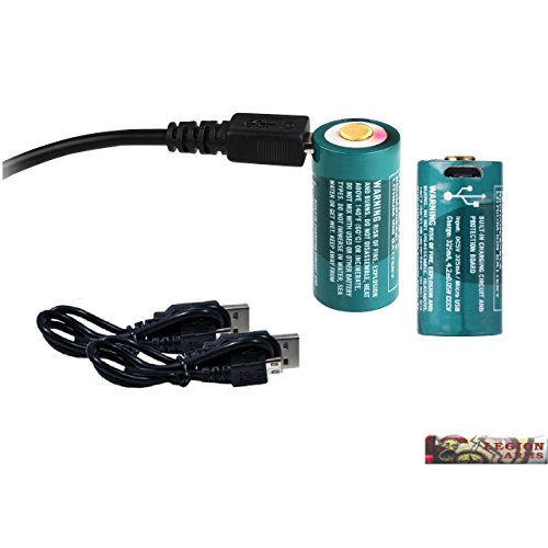 2 Pack: Olight 650mAh RCR123A 16340 Rechargeable Li-ion Batteries w/Built-in Micro USB port, Charging Cables for S1 Mini Baton, S1, H1, S mini Ti/Cu, S2, etc