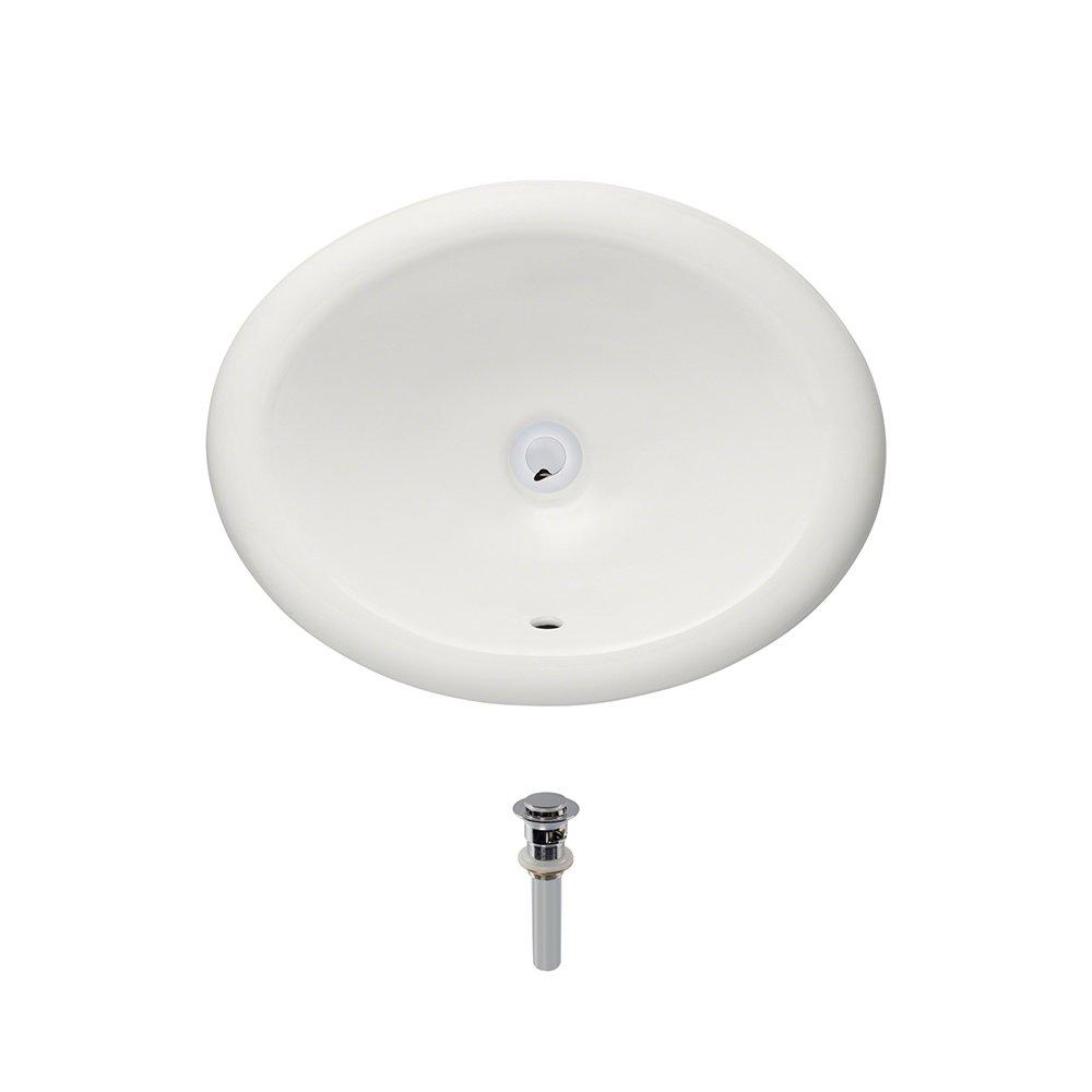 O1917-Bisque Overmount Porcelain Bathroom Sink Ensemble, Chrome Pop-Up Drain