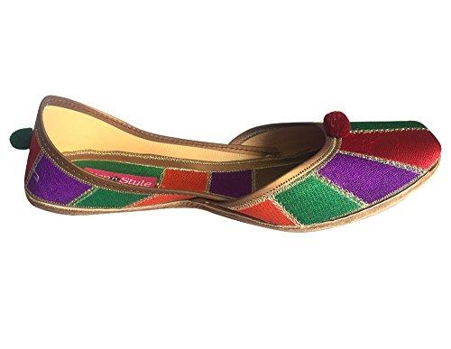 mojari étnico Ballet multicolor Style jutti n de Mujer Khussa Punjabi de Step multicolor plano zapatos Zapatos pakinstani fwazxqPA8