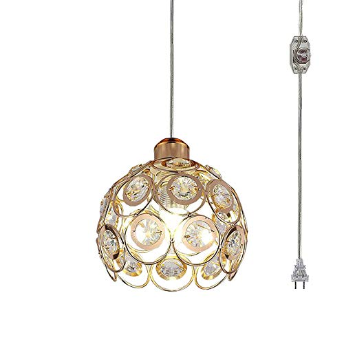 Kiven Plug-in Crystal Pendant Lamp Hollow Golden Shade Light Fixtures Mini Classic Chandelier with UL Listed On/Off Dimmer Switch Cord Bulb Not Included ()