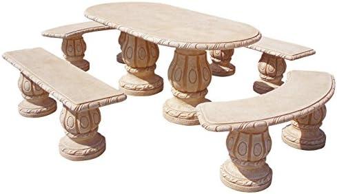 Conjunto Mesa Comedor Jardin DE Piedra Artificial con Fibra Y AZULEJO Olmo Ocre: Amazon.es: Hogar