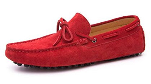 Happyshop Heren Casual Suede Lederen Kwast Instappers Loafers Rijden Auto Mocassins Outdoor Bootschoenen Rood