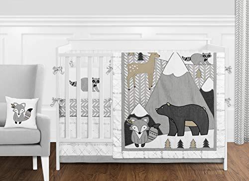 (Sweet Jojo Designs Beige, Grey and White Boho Mountain Animal Gray Woodland Forest Friends Baby Unisex Boy or Girl Nursery Crib Bedding Set with Bumper - 9 Pieces - Deer Fox Bear)
