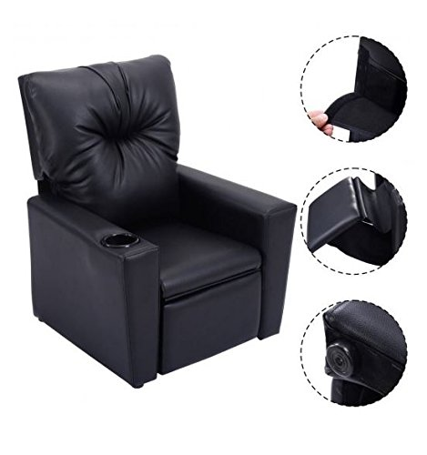 MD Group Kids Sofa Ergonomic Lounge Portable Children Seat Black Light-weight ith Cup Holder