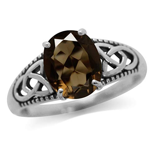 2.52ct. Natural Smoky Quartz White Gold Plated 925 Sterling Silver Triquetra Celtic Knot Ring Size 6