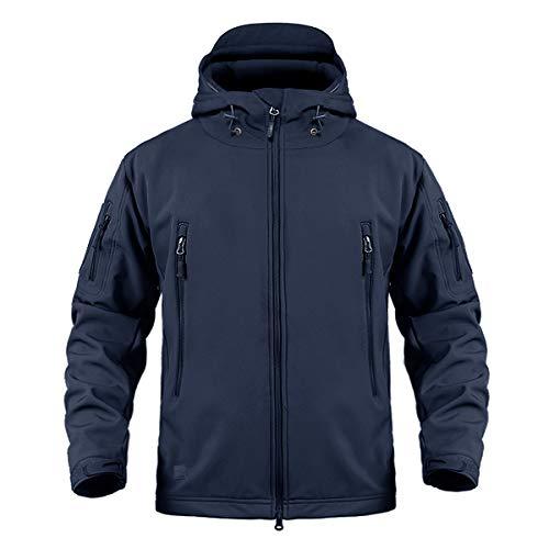 CRYSULLY Men's Outdoor Climbing Windproof Tactical Soft Shell Jacket Fleece Hooded Coat