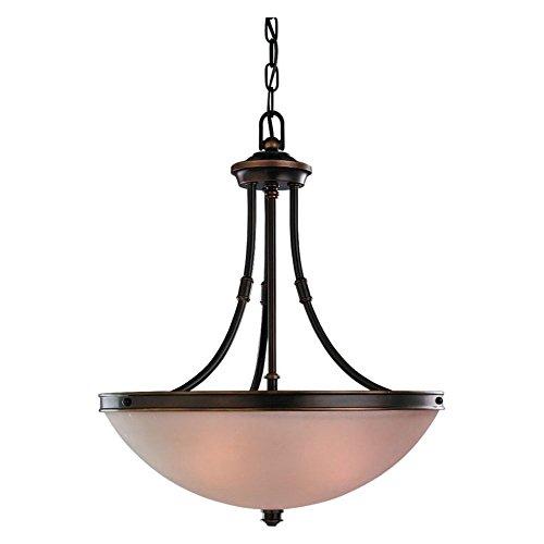 Sea Gull Lighting 65331-825 Three-Light Warwick Pendant, Satin Etched Glass Shade, Vintage Bronze