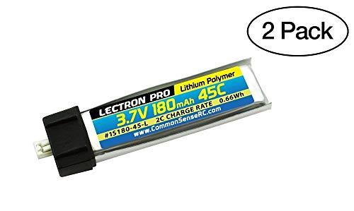 Common Sense RC 2-Pack of Lectron Pro 3.7 Volt - 180mAh 45C Lipos for Blade mCX, mCX2, mSR, mSR X, Nano QX, Nano CPX, and UMX AS3Xtra