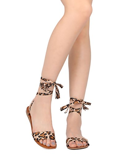 [Women Lace Up Strap Gladiator Sandal - Casual, Costume, Stylish - Tasseled Flat Sandal - GG45 By Breckelles - Leopard Faux Suede (Size:] (Kiddie Costume For Sale)