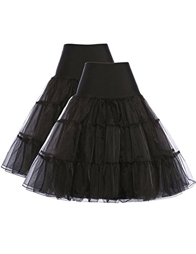 GRACE KARIN School Student Pinup Petticoat Under Skirts Slip (S,Black,2Pack)