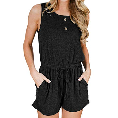 Women's Solid Jumpsuits, Summer Sleeveless Scoop Neck Trousers Sexy Button Rompers with Pockets ❤️Sumeimiya Black ()