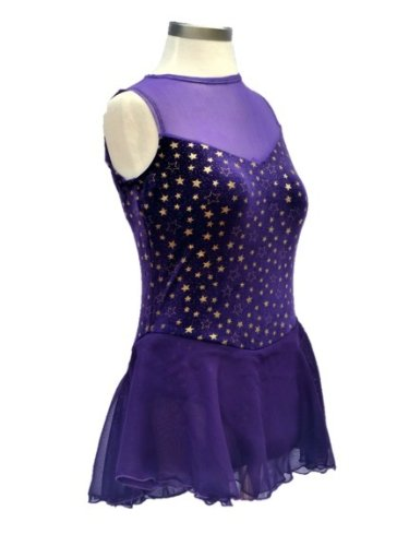 [Girl's Figure Skating Dress /Dance Costume Mesh Top (Purple, Child X-Large)] (Ice Skating Dress Costumes)
